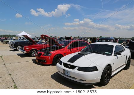 BROOKLYN, NEW YORK - JUNE 8, 2014: Historical American made cars on display at the Antique Automobile Association of Brooklyn Annual Spring Car Show in Brooklyn, New York