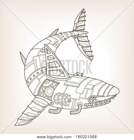 Ancient draft of mechanical shark. Mechanical animal vector illustration.