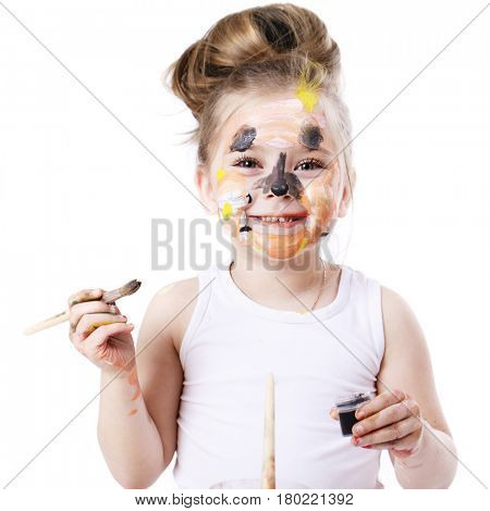 Happy beautiful little girl with painted face, isolated on white background