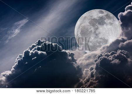 Super moon. Attractive photo of background night sky with cloudy and bright full moon. Nightly sky with beautiful full moon behind clouds. Vintage tone effect. The moon were NOT furnished by NASA.