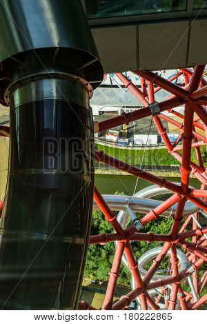 London, England - October 17, 2016; Structural close-up ArcelorMittal Orbit red tubular spiralling steel structure in the Queen Elizabeth Olympic Park in Stratford London