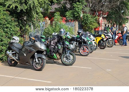 Parked Motorbikes At Yearly Mass Ride