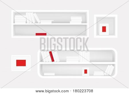 White bookshelf and photo frame. Books collection with one red book. Realistic vector. For furniture banners design