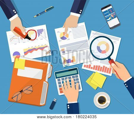 Hand with magnifying glass and calculator, analysis of financial report. Financial audit concept. Calculation. Auditing tax process. Business background. Vector illustration in flat design
