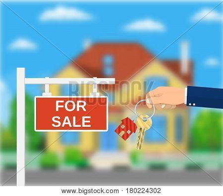 Sale placard sign. Hand of agent with keys. Blurred background with private suburban house, Real estate, sale and rent house. Vector illustration in flat style