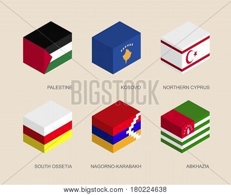 Isometric 3d boxes with flags of a disputed territories and partially recognised states. Containers with standards - Palestine, Kosovo, Northern Cyprus, Abkhazia, South Ossetia, Nagorno-Karabakh