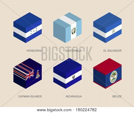 Set of isometric 3d boxes with flags of Caribbean countries. Simple containers with standards - Honduras, Guatemala, El Salvador, Cayman Islands, Nicaragua, Belize. Geometric icons for infographics.
