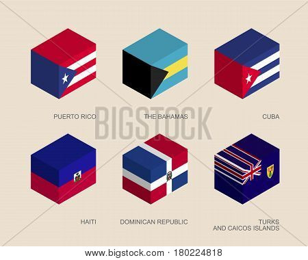 Set of isometric 3d boxes with flags of Caribbean countries. Simple containers with standards - Cuba, Dominican Republic, Haiti, Bahamas, Puerto Rico. Geometric icons for infographics.