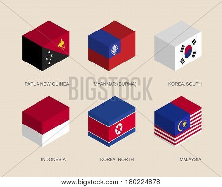 Set of isometric 3d boxes with flags of Asian countries. Simple containers with standards - Papua New Guinea, Myanmar, South Korea, North Korea, Indonesia, Malaysia. Geometric icons for infographics.