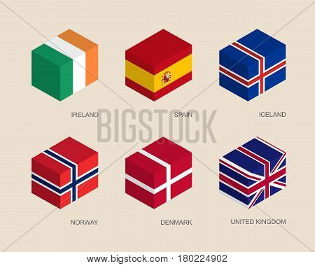 Set of isometric 3d boxes with flags. Simple containers with standards - Denmark, UK (United Kingdom), Spain, Norway, Ireland, Iceland. Geometric icons for infographics.