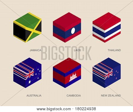 Set of isometric 3d boxes with flags of Asian countries. Simple containers with standards - Cambodia, Australia, New Zealand, Laos, Thailand, Jamaica. Geometric icons for infographics.
