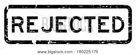 Grunge black rejected square rubber seal stamp on white background