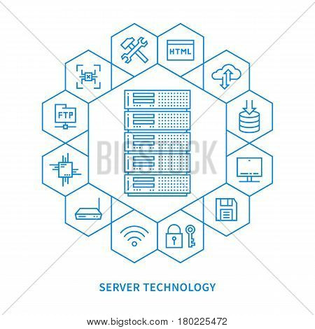 Server infrastructure vector illustration. Hosting technology line art.