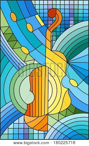 Illustration in stained glass style on the subject of music the shape of an abstract violin on geometric background