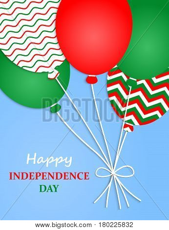Italy Independence Day. Italy Patriotic Poster. Independence Day Placard with Bright Colorful Balloons of Country National Colors. Italy Independence Day Celebration. Vector illustration