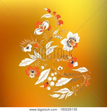 Stock Vector Flowers And Leaf Ornament. Oriental Or Russian Pattern On The Blurred Background.neckla