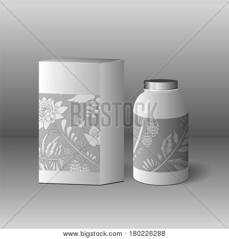 Set Of Cardboard Package And Glass Of Bottle On The Grey Background. Mock Up, Template. Stock Vector