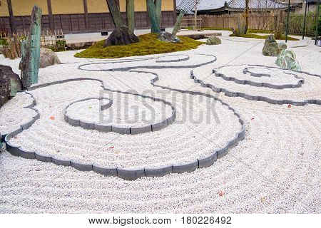 Japanese Zen Garden Zen Garden Meditation Stone In Lines Sand For Relaxation Balance And Harmony Spi