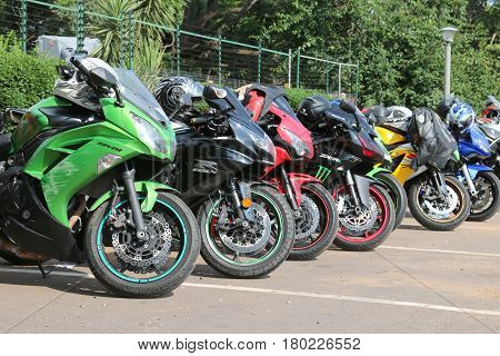 Colorful Parked Motorbikes At Yearly Mass Ride