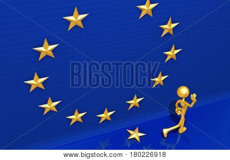 The Original 3D Character Illustration Leaving The European Union