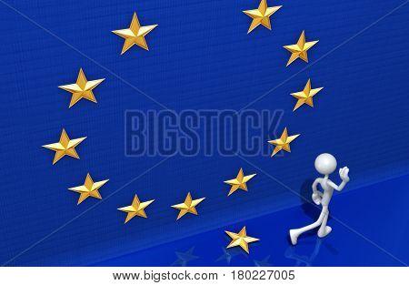 The Original 3D Character Illustration Leaving The European Union