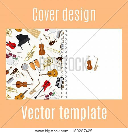Cover design for print with jazz musical instruments pattern. Vector illustration