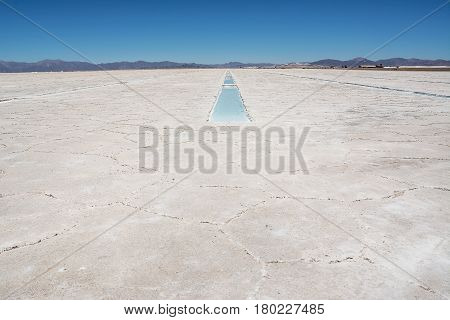 Salinas Grandes and ditch of water and salt