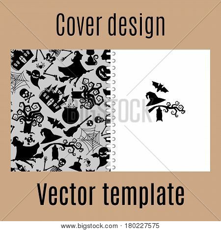 Cover design for print with traditional halloween decorations pattern. Vector illustration