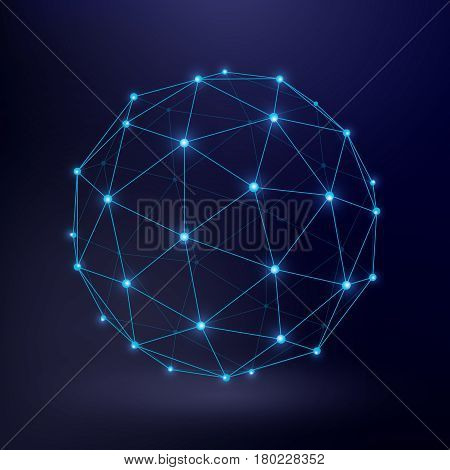 Futuristic technology vector background with wireframe connection circle graphic. Connect sphere frame, illustration of sphere wireframe