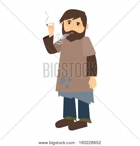 Homeless man smokes cigarette icon on white background. Vector illustration
