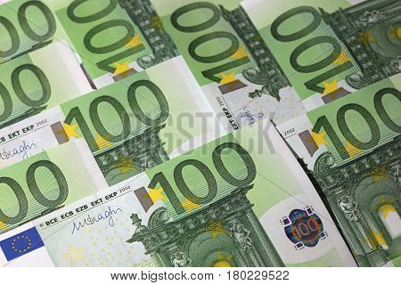 Stack of one hundred Euro banknotes closeup
