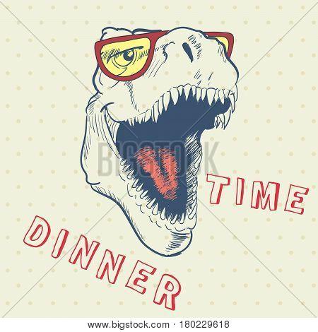 Dinner time of cool dinosaur.Prints design for t-shirt