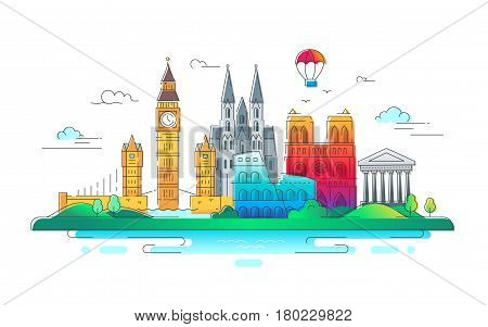 European Countries - modern vector line travel illustration. Have a trip, enjoy your vacation. Discover Italy, Germany and Great Britain. Be on a safe and exciting journey. See great landmarks such as tower of london, coliseum, cathedral, balloon, bridge