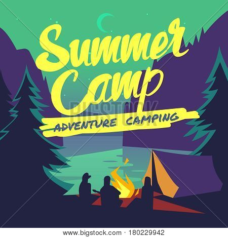 Night forest with moonlight and campfire summer adventure camping vector poster. Camp outdoor in forest, illustration of camp with campfire and tent