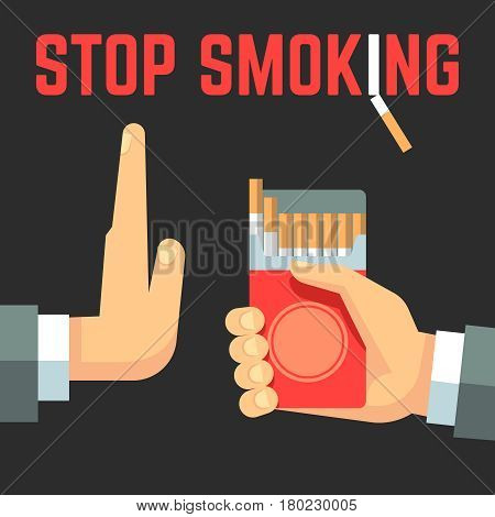 No smoking vector concept. Hand with cigarette and hand with reject gesture. No cigarette banner, no smoke tobacco concept illustration