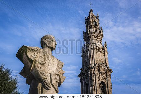 Antonio Ferreira Gomes monument and famous Clerigos Tower in Porto Portugal