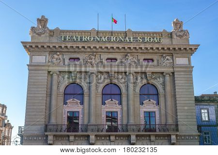Frontage of Sao Joao National Theatre in Porto city in Portugal