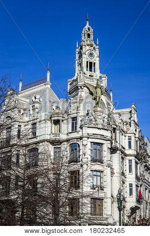 Old building on Liberdade Square in Porto city Portugal