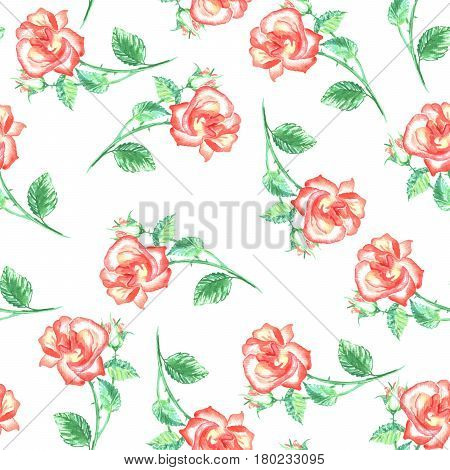 Seamless pattern with red roses and green leafs. Hand drawn elements for fabric textile design, pillows, tablecloth and scrapbook paper