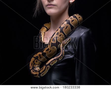 Woman and royal python on black background