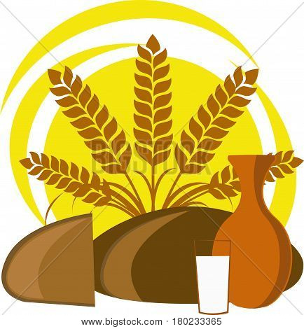 Spikelets, round bread, slice of bread, jug and glass of milk against the sun and sun on a white background
