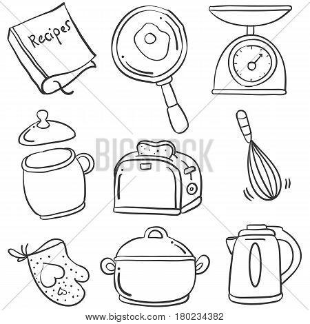 Illustration kitchen set of doodles collection stock
