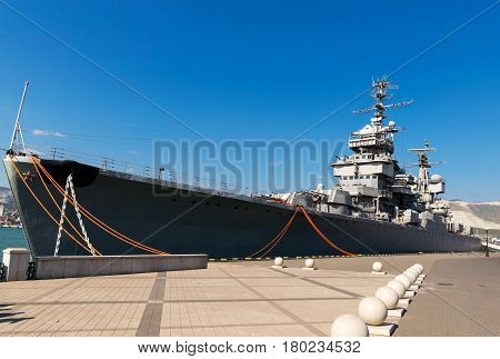 Novorossiysk, Russia - august 22, 2015: The ship-museum cruiser Mikhail Kutuzov moored at the pier of the port of Novorossiysk