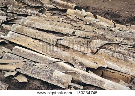 Pieces broken slate close-up. Construction garbage. Background