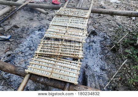 Small Fishs Smoked On Fire At Don Khon Island