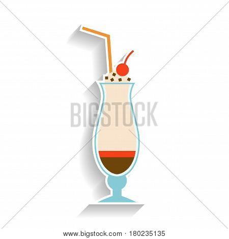 Milkshake with chocolate, whipped cream and a cherry. Flat color icon, object of fast food and snack. Illustration of dessert