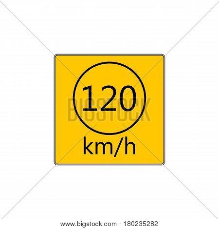 Prescribed minimum speed limit. Vector road sign