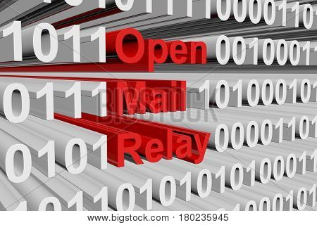 Open mail relay in the form of binary code, 3D illustration