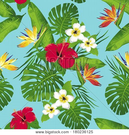 Tropical flowers and leaves on turquoise background. Seamless. Vector.