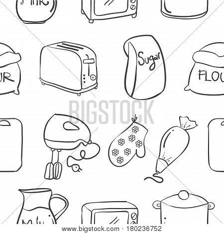 Collection stock of kitchen set vector art illustration